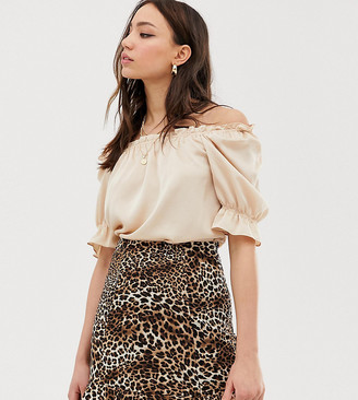 Glamorous Tall blouse with puff sleeves-Beige