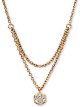 """AVA NADRI Gold-Tone Crystal Pendant Two-Row Necklace, 16"""" + 1"""" extender"""