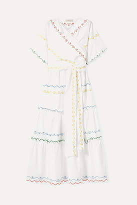 Tory Burch Tiered Embroidered Cotton-poplin Wrap Maxi Dress - White