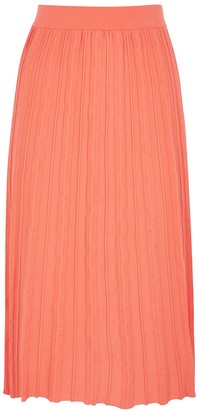 Kenzo Orange Striped Stretch-knit Midi Skirt