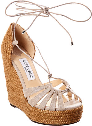 Jimmy Choo Denize 125 Canvas Wedge Sandal