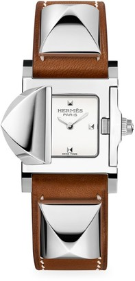 Hermes Medor 23MM Stainless Steel & Leather Strap Watch