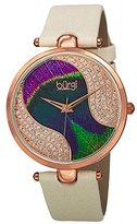 Burgi Women's BUR131WTR Swarovski Crystal Accented Peacock Feather Dial Rose Gold and White Satin over Leather Strap Watch