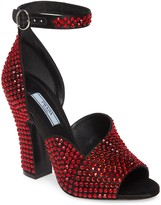 Prada Crystal Ankle Strap Peep Toe Pump