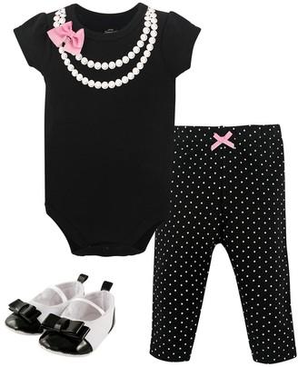 Little Treasure Girls' Infant Bodysuits Pearls - Black & White Necklace-Print Short-Sleeve Bodysuit Set - Infant
