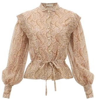 Etro Gardenia Paisley-print Cotton-blend Blouse - Womens - Beige