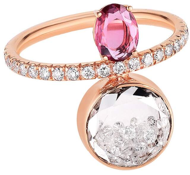 Moritz Glik Pink Sapphire And Loose Diamond Sphere Ring