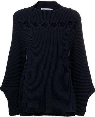 Victoria Beckham Cut-Out Bishop Sleeves Jumper