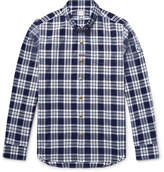 Moncler Gamme Bleu Slim-Fit Button-Down Collar Checked Cotton Oxford Shirt