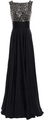 Jenny Packham Embellished Tulle-paneled Satin Gown