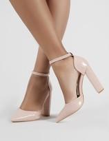 Public Desire Sofia Blush Croc Pointed Block Heels
