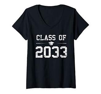 with me. Womens Vintage Class Of 2033 First Day Of School Grow V-Neck T-Shirt