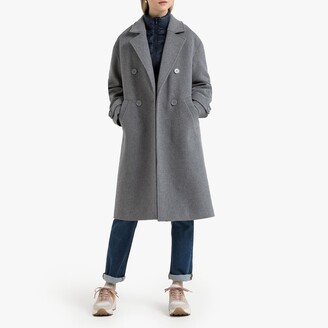 La Redoute Collections Wool Mix Double-Breasted Coat with Pockets
