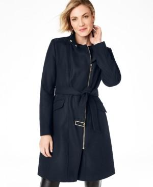 Cole Haan Petite Belted Asymmetrical Walker Coat