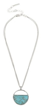 Kenneth Cole New York Silver-Tone Stone Geometric Pendant Necklace