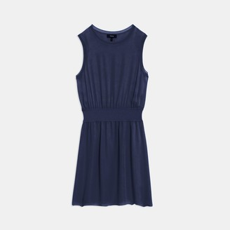 Theory Ribbed Trim Dress in Silk Combo