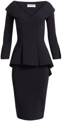 Chiara Boni Zoya Long-Sleeve Peplum Sheath Dress