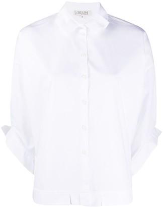 Bi494 Pleated Trim Batwing Sleeve Shirt