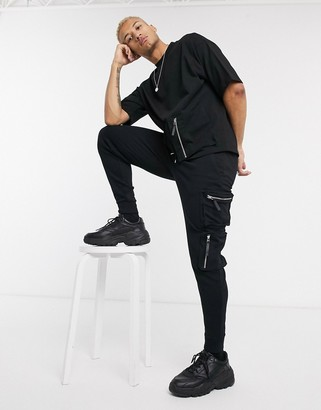 Asos Design DESIGN co-ord skinny joggers with ultility zip pockets in black
