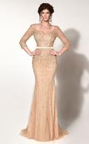 MNM Couture - Embellished V-Neck Trumpet Dress 0767W