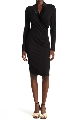 T Tahari Velvet Shawl Collar Sheath Dress