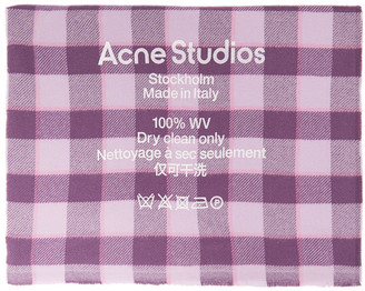 Acne Studios Pink and Purple Check Logo Scarf