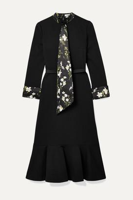 Erdem Hilma Belted Floral-print Satin-trimmed Stretch-ponte Midi Dress - Black