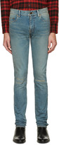 Saint Laurent Blue Original Low Waisted Knee Patch Skinny Jeans