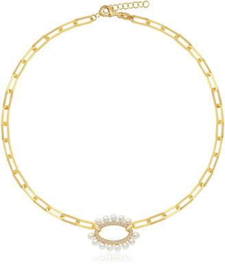 GABIRIELLE JEWELRY Gold Over Silver 2Mm Pearl Cz Oval Link Choker Necklace