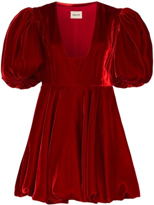 KHAITE Leona puff-sleeve velvet dress
