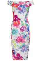 Quiz White And Pink Flower Print Bardot Midi Dress
