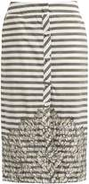 JOHANNA ORTIZ Tanzania striped lace-panel cotton-blend skirt