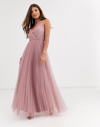 Asos Design DESIGN Fuller Bust cami pleat tulle maxi dress-Pink