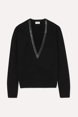 Saint Laurent Leather-trimmed Cashmere Sweater - Black