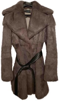 Dolce & Gabbana Grey Rabbit Coat for Women