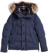 Burberry detachable fur trim down parka