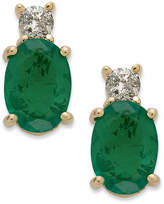 Macy's 14k Gold Earrings, Emerald (1-5/8 ct. t.w.) and Diamond (1/8 ct. t.w.) Oval Earrings