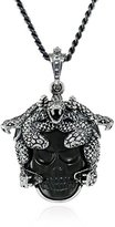 King Baby Studio Unisex Small Medusa with Carved Jet Skull Pendant Necklace