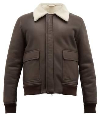 De Bonne Facture - Shearling Lined Leather Aviator Jacket - Mens - Dark Brown