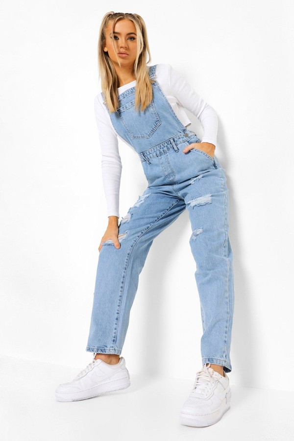 boohoo Acid Wash Distressed Overall
