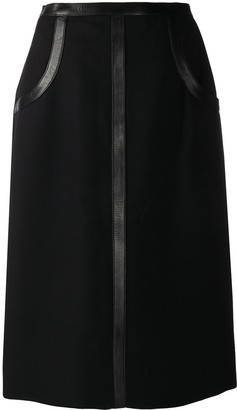 Hermes Pre-Owned Leather Detailing Straight-Fit Skirt