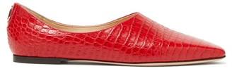 Jimmy Choo Joselyn Crocodile-effect Leather Ballet Flats - Red