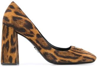 Prada Square-Toe Leopard Print Pumps