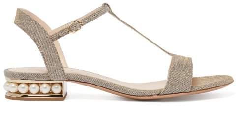 Nicholas Kirkwood Casati Faux Pearl Heeled Metallic T Bar Sandals - Womens - Gold