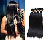 Jaycee Hair 7a Brazilian Virgin Hair Silky Straight Weft 4 Bundles 100% Unprocessed Human Hair Extensions Natural Color (100+/-5g)/pc(20 20 22 22)