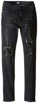 7 For All Mankind Kids The Skinny Stretch Denim Jeans in Destroyed Black (Big Kids)