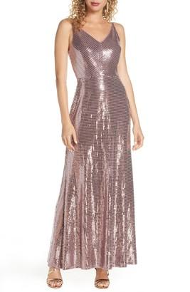 Morgan & Co. Mirror Sequin A-Line Gown