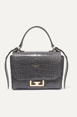 Givenchy Eden Mini Croc-effect Leather Shoulder Bag - Gray