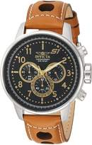 Invicta Men's 'S1 Rally' Quartz Stainless Steel and Leather Casual Watch, Color:Brown (Model: 23597)