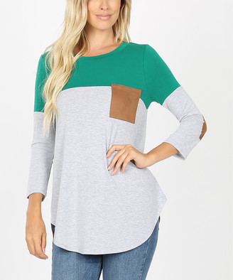 Zenana Women's Tee Shirts FOREST - Forest Green & Gray Color Block Elbow-Patch Pocket Tee - Women